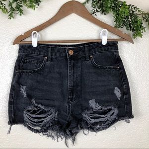 Forever 21 Distressed Black Jean Shorts